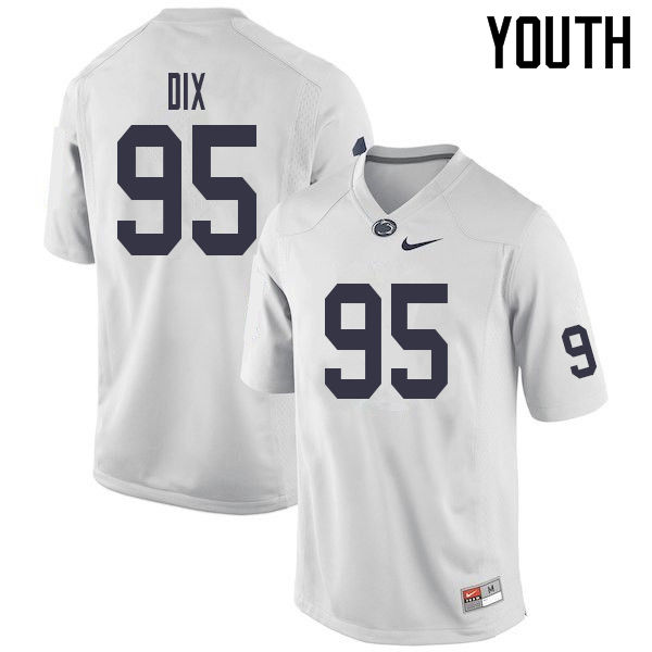 Youth #95 Donnell Dix Penn State Nittany Lions College Football Jerseys Sale-White